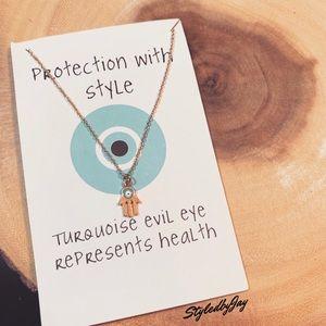 Evil eye hamsa dainty gold necklace